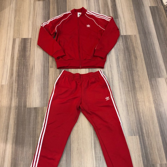 Men's Red Adidas tracksuit